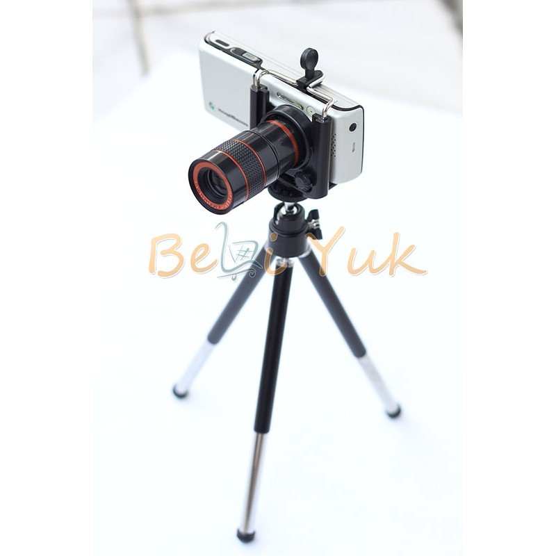 tele 8x zoom holder smartphone 8 5 cm gratis tripod. Black Bedroom Furniture Sets. Home Design Ideas