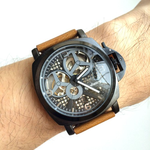 Infantry Mechanical Semi Automatic Hand Winding Black Vintage