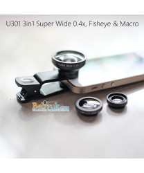 New! 3in1 Super Wide 0.4X, Fisheye and Macro  tipe Jepit